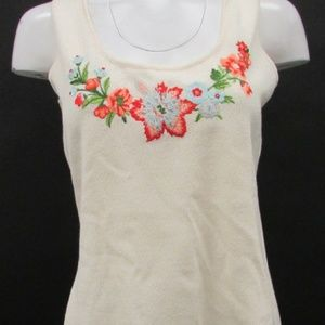 St. John Small Embroidered Sleeveless Tank